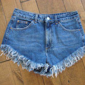Topshop Moto Kiri Frayed Denim Jean Shorts
